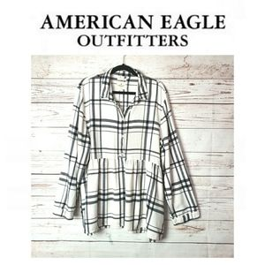 American Eagle Outfitters Plaid Long Sleeves Dress